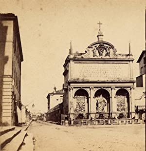Rome Fountain Early Italian Stereoview Roma Stereo card 1858-60c S80