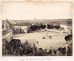 Photograph Robert Rive #1010 Rome Piazza del Popolo & other albumen photo back 1860c XL64