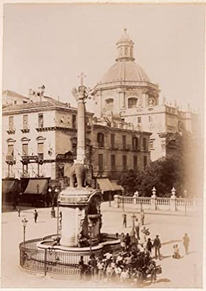 Photograph Catania Sicily Elephant Fountain Street scene Large albumen photo 1900c XL94
