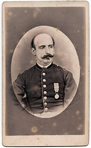 Carte de visite Genova Italian officer with medal Military 1870c Original photo Scotto S304
