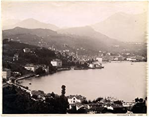 Lake Como Panorama Large vintage albumen photo Nessi 1890c L311