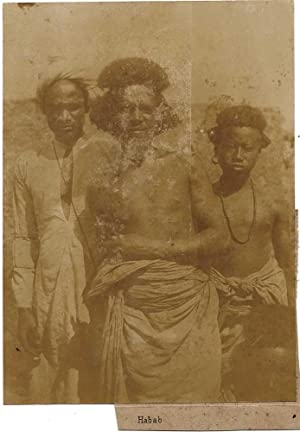 African native seminude tribal men Habab 1900c Vintage collodion photo Africa