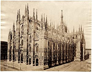 Milan Cathedral Large original albumen photo 1880c Milano Italy