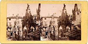 Verona Cansignorio monument People Stereocard 1860c Photographer: unknown