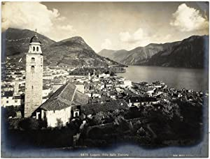 Lugano Panorama from the station Vintage silver photo 1900c Kilchberg L302