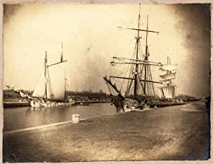 Photograph Trapani or Marsala Sicily Port with two sailing ships vintage photo 1890c L330