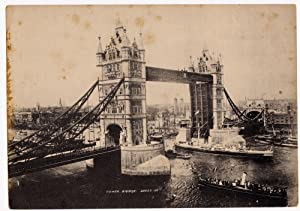 Orginal photo heliogravure unmonted London Tower Bridge J. Valentine 1890c L372