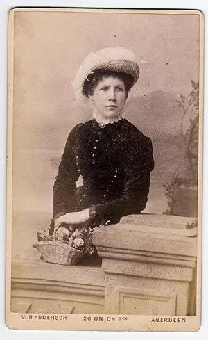Carte De Visite Aberdeen Portrait Of Woman With Basket Flowers Photo Anderson 1870c S748