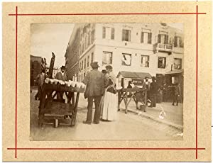 Photograph Rome Street scene Small collodium photo (aristotype) 1900c Primoli ? People S778