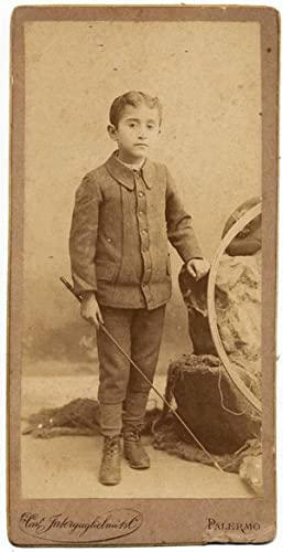 Nice Portrait of a boy with toys 1890c Interguglielmi Palermo Sicily CabinetS257