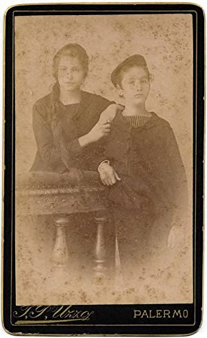 Lovely Carte de visite Palermo Sicily Brother and Sister 1880c F. P. Uzzo S172