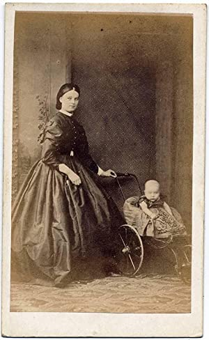 Carte de visite Torquay England Little girl in baby carriage & mom Vintage photo 1880c S181: R....