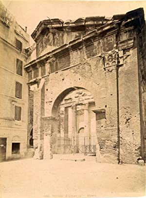 Rome Portico d'Ottavia Large original albumen photo Roma 1870c L583