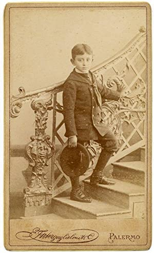 Carte de visite Palermo Sicily Portrait of a boy Scale of noble house 1890c Interguglielmi
