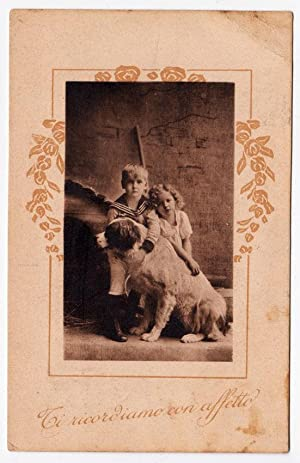 Heliogravure Postcard brothers with their dog 1900 Vi14