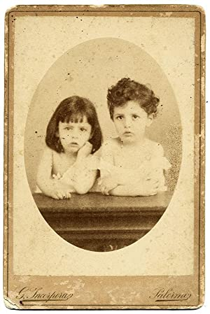 Giuseppe Incorpora Palermo Nice original cabinet photo Two children 1890c S590