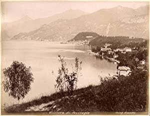 Lake Como Lot two albumen photos Bellagio and Serbelloni garden 1870c XL112