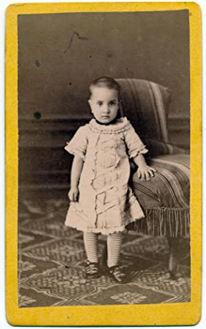 CDV Catania Sicily Little girl standing Original photo Pellicciari 1878 S1103