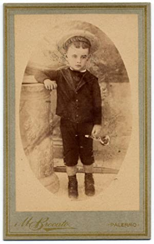 CDV Cefalù Sicily Boy with toy trumpet Original photo M. Brocato 1880c S1107