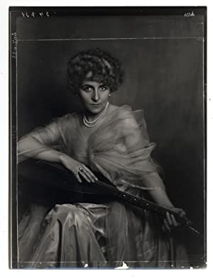 Madame DOra Portrait of woman with guitar Vintage gelatin silver pr. 1925c L652