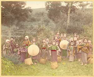 Japan Ogawa Kazumasa Tea-pickers Vintage photo handcolored 1890c XL363