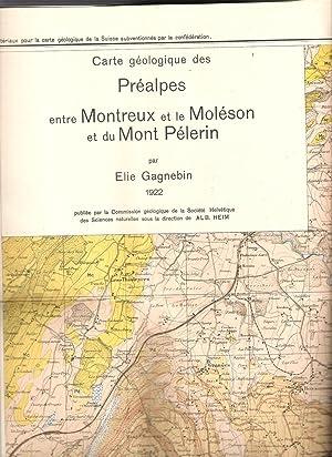 Carte géologique des Préalpes entre Montreux et le Moléson et du Mont P&egrave...