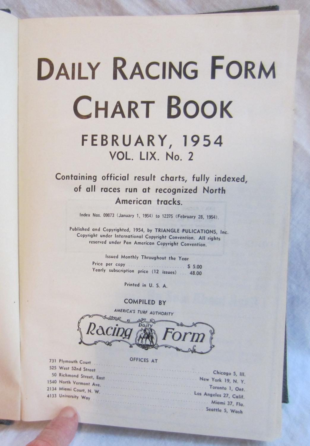 DAILY RACING FORM CHART BOOKS - February,