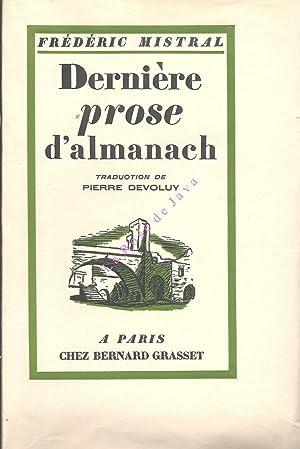 Dernière prose d'almanach. Darriero proso d'armana. Gerbes: MISTRAL Frédéric