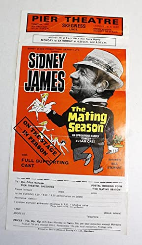 Original Hand Signed Theatre Flyer of Sid James Performing The Mating Season - Carry On: Sid James