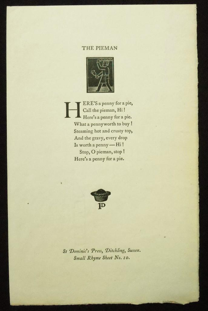The Pieman. Small Rhyme Sheet No. 10 [pepler, H.d.c. (author)]; Gill, Eric (artist) Fine