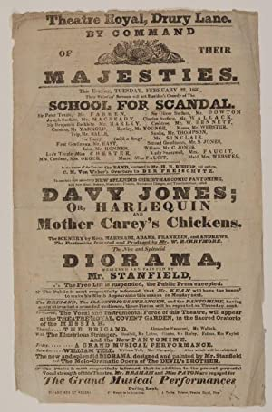 SCHOOL FOR SCANDAL (Broadside / Playbill)