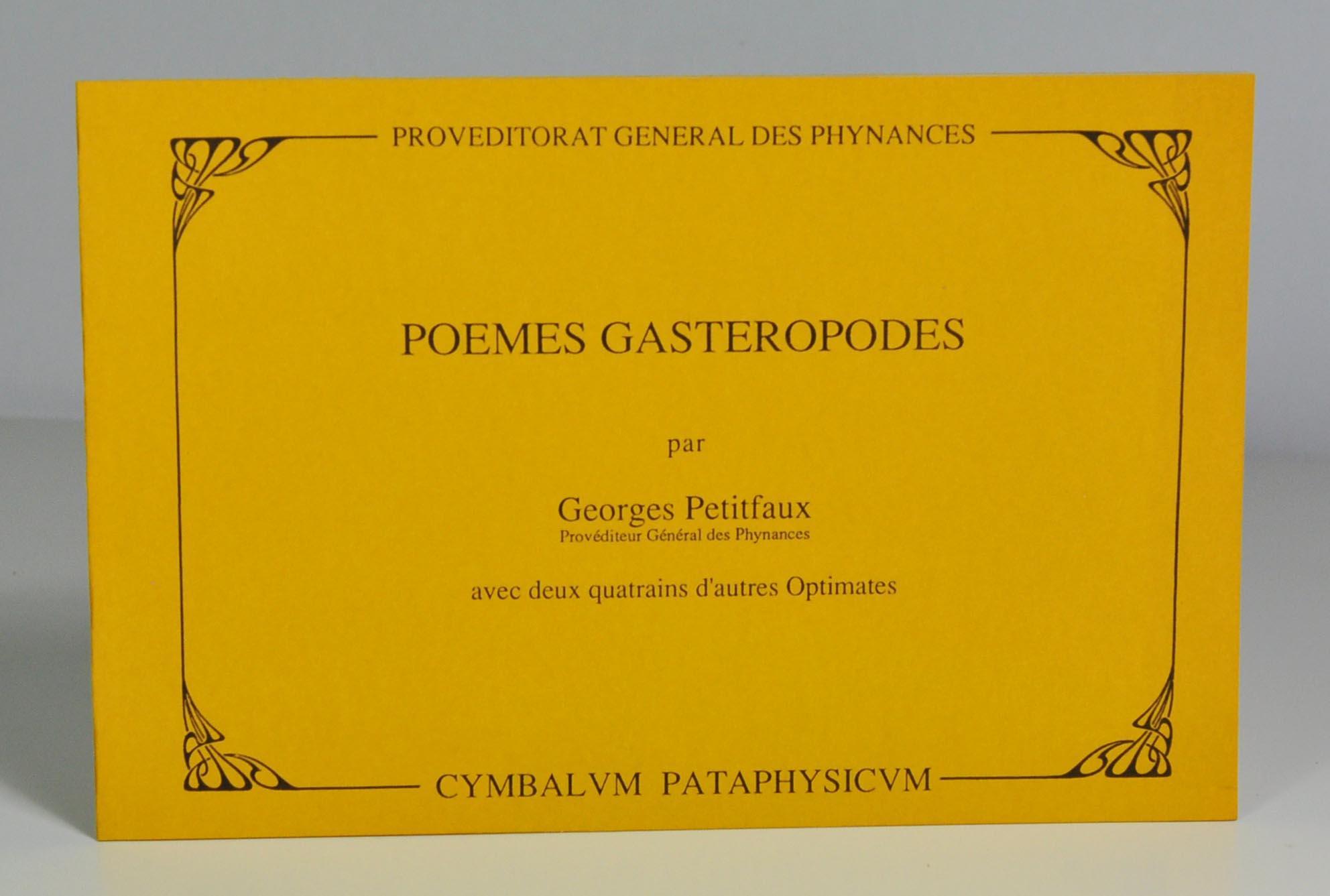 Poèmes Gastéropodes Avec Deux Quatrains Dautres Optimates