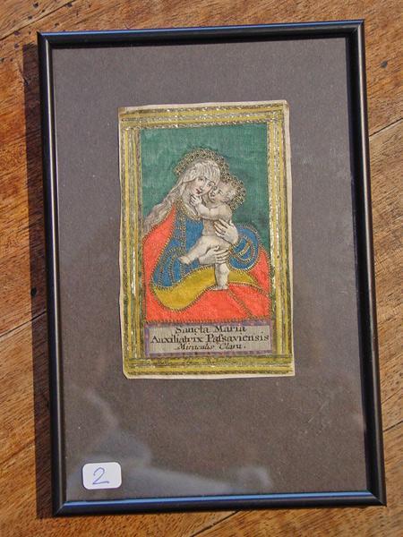 ANDACHTSBILDCHEN ? Bildchen des Maria-Hilff-Typus. Goldfaden- und