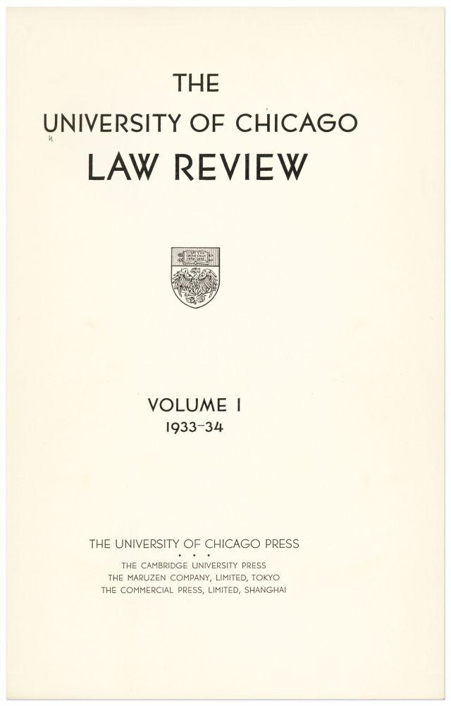 University of Chicago Law Review. vols. 1-77 (1933-2010): University of Chicago Law School