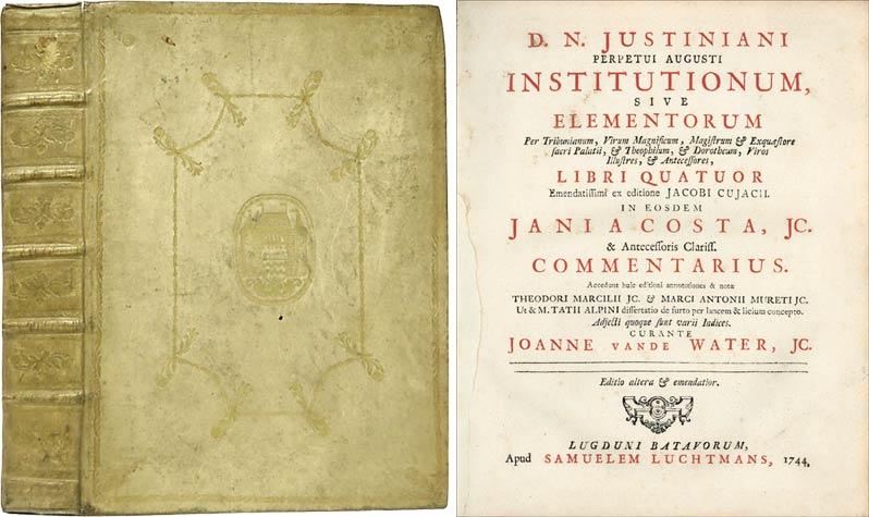 D N Justiniani Perpetui Augusti Institutionum Sive: Justinian I; Cujas,
