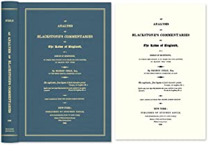 An Analysis of Blackstone's Commentaries on the: Field, Barron; Sir