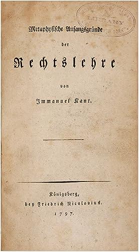 Metaphysische Anfangsgrunde der Rechtslehre: Kant, Immanuel