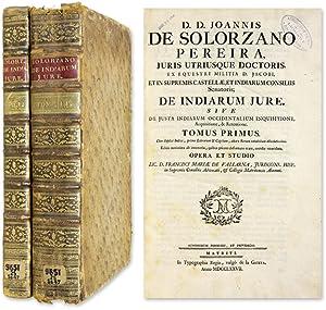 De Indiarum Jure, Sive de Justa Indiarum Occidentalium Inquisitione.: Solorzano Pereira, Juan de