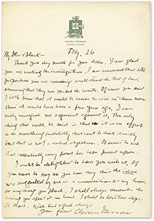 Autograph Letter, Signed, to Black [with] The: Darrow, Clarence; Black,