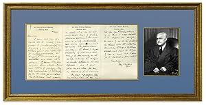 Autograph Letter, Signed, on Harvard Law School Letterhead. Framed: Frankfurter, Felix