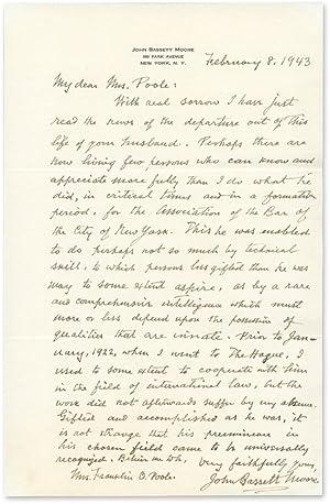 Autograph Letter, Signed, To Poole, February 8, 1943: Moore, John Bassett; Poole, Mrs Franklin O.