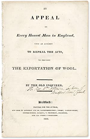 An Appeal to Every Honest Man in England, Upon an Attempt to Repeal.: Atkinson, William