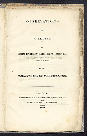Observations on a Letter by John Eardley Eardley-Wilmot, Esq.: Eardley-Wilmot, Sir John Eardley