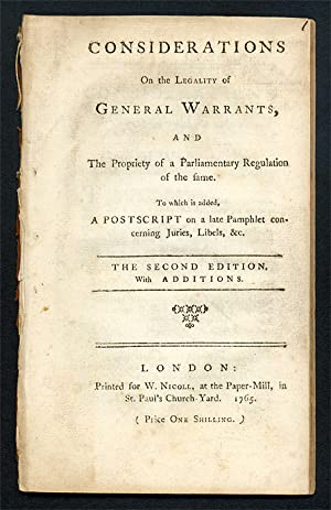 Considerations on the Legality of General Warrants, and the.: Warrants