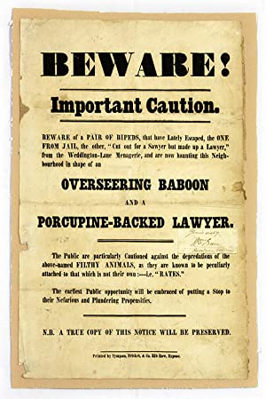 Beware! Important Caution, Beware of a Pair of Bipeds, That Have.: Broadside; Great Britain