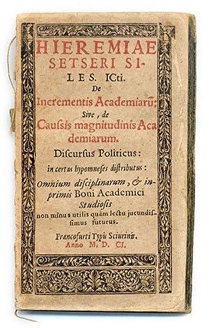 De Incrementis Academiaru[m]: Sive, De Caussis Magnitudinis.: Setzer, Jeremias