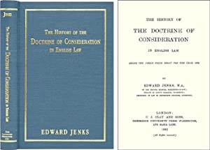 The History of the Doctrine of Consideration in English Law (Being.: Jenks, Edward