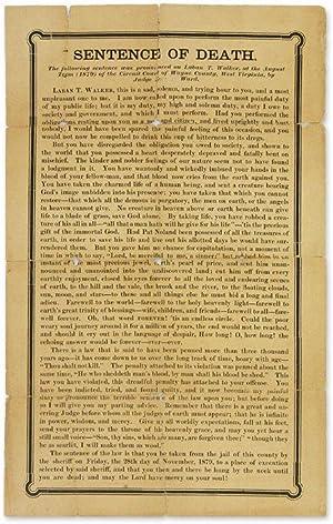 Sentence of Death, The Following Sentence was: Broadside; Trial; Walker,