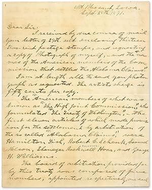 Autograph Letter, Signed, Mt. Pleasant, Iowa, September: Harlan, James; Alabama