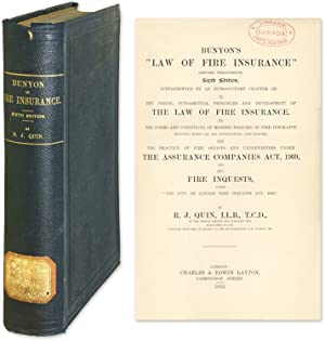 "Bunyon's ""Law of Fire Insurance"" (Revised Throughout): Bunyon, Charles John; Quin, ..."